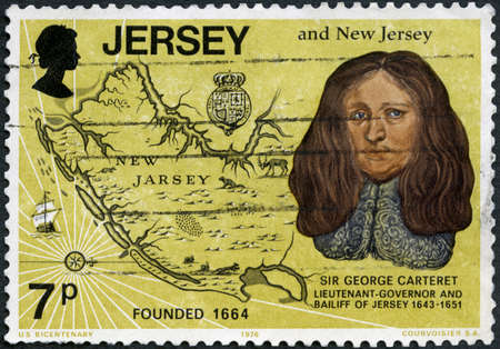 MOSCOW, RUSSIA - APRIL 16, 2020: A stamp printed in Jersey shows Sir George Carteret (1771-1847), old map of New Jersey, US Bicentennial, circa 1976