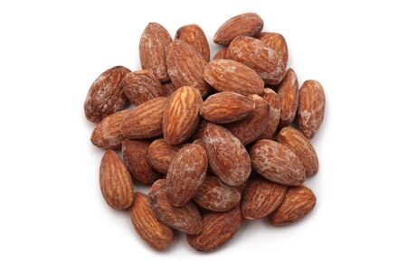 Salted almonds on white background