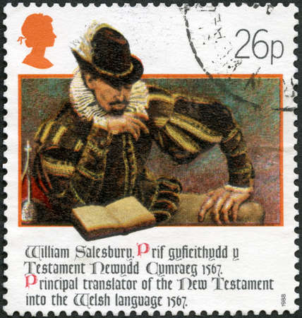 MOSCOW, RUSSIA - NOVEMBER 12, 2019: A stamp printed in United Kingdom shows William Salesbury Salusbury (1520-1582), Welsh New Testament, series The 400th Anniversary of Welsh Bible, circa 1988
