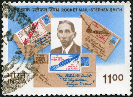 INDIA - CIRCA 1992: A stamp printed in India shows Stephen Hector Taylor Smith (1891-1951), Rocket Mail Pioneer, circa 1992