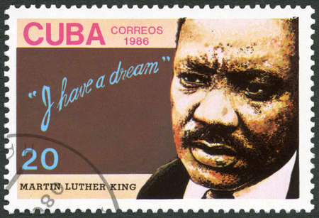 CUBA - CIRCA 1986: A stamp printed in Cuba shows Dr. Martin Luther King, Jr. (1929-1968), American civil rights leader, circa 1986