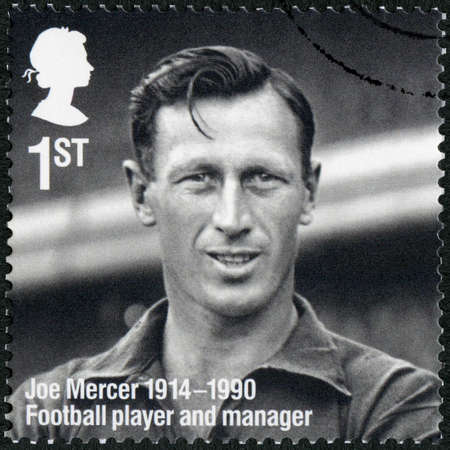 UNITED KINGDOM - CIRCA 2014: A stamp printed in United Kingdom shows Joseph Joe Mercer (1914-1990), Remarkable Lives, 100th Birth Anniversaries, circa 2014