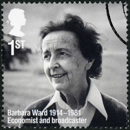 UNITED KINGDOM - CIRCA 2014: A stamp printed in United Kingdom shows Barbara Mary Ward, Baroness Jackson of Lodsworthn (1914-1981), Remarkable Lives, 100th Birth Anniversaries, circa 2014