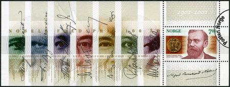NORWAY - CIRCA 2001: A stamp printed in Norway shows Alfred Bernhard Nobel (1833-1896), circa 2001 Editöryel