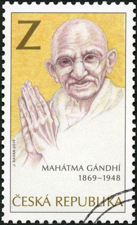 CZECH REPUBLIC - CIRCA 2012: A stamp printed in Czech Republic shows portrait of Mahatma Mohandas Karamchand Gandhi (1869-1948), The 150th Anniversary of the Birth, circa 2019