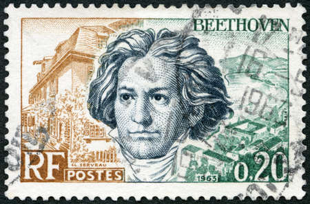 FRANCE - CIRCA 1963: A stamp printed in France shows Ludwig van Beethoven (1770-1827), Birthplace at Bonn and Rhine, circa 1963