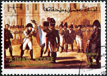 AJMAN - CIRCA 1972: A stamp printed in Ajman shows Napoleon I Bonaparte (1769-1821), stateman, series famous men, circa 1972