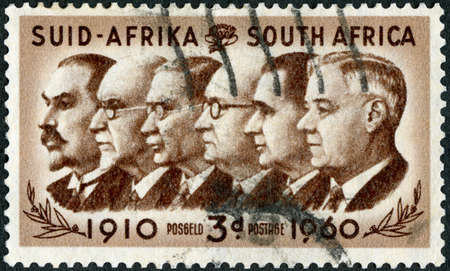 SOUTH AFRIKA - CIRCA 1960: A stamp printed in South Afrika shows Prime Ministers Botha, Smuts, Hertzog, Malan, Strydom and Verwoerd 1910-1960, 50th anniversary of the founding of the Union, circa 1960 Sajtókép
