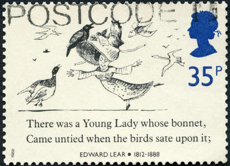 UNITED KINGDOM - CIRCA 1988: A stamp printed in United Kingdom shows Girl, birds and part of a limerick, Nonsensical Drawings by Edward Lear (1812-1888), circa 1988