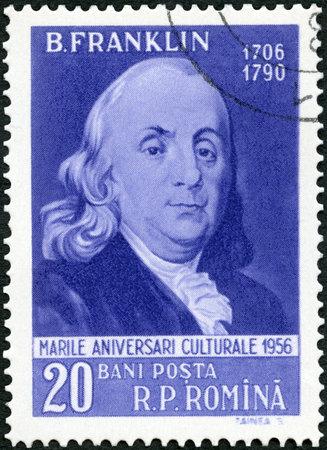 ROMANIA - CIRCA 1956: A stamp printed in Romania shows Benjamin Franklin (1706-1790), series Portraits, circa 1956