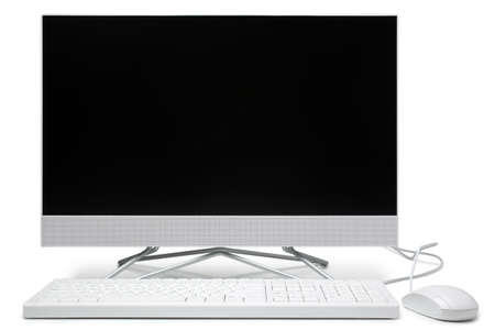 Computer monitor with keyboard, mouse and blank screen on white background