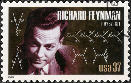 UNITED STATES OF AMERICA - CIRCA 2005: A stamp printed in USA shows portrait of Richard Phillips Feynman (1918-1982), physicist, series American Scientists, circa 2005