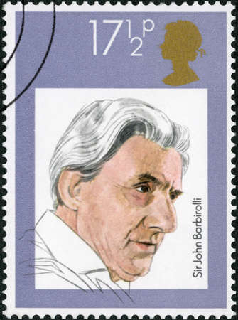 GREAT BRITAIN - CIRCA 1980: A stamp printed in Great Britain shows Sir John Barbirolli (1899-1970), series English Conductors, circa 1980