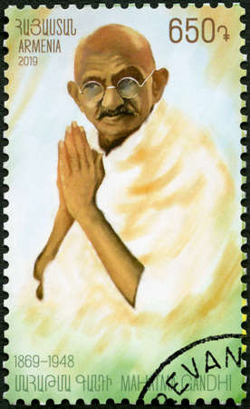 ARMENIA - CIRCA 2019: A stamp printed in Armenia shows portrait of  Mahatma Mohandas Karamchand Gandhi (1869-1948), circa 2019