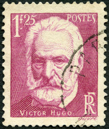 FRANCE - CIRCA 1935: A stamp printed in France shows Victor Marie Hugo (1802-1885), circa 1935