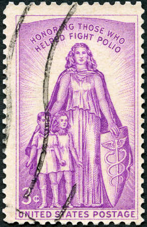 USA - CIRCA 1957: A stamp printed in USA shows Allegory, Honoring those who helped fight polio, Polio Issue, circa 1957