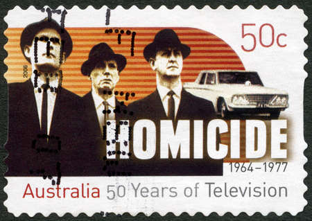AUSTRALIA - CIRCA 2006: A stamp printed in Australia shows Homicide, 50 years of television, Television shows, circa 2006