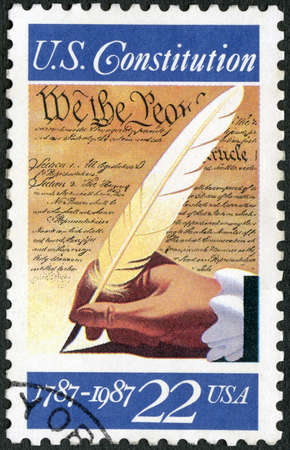 UNITED STATES OF AMERICA - CIRCA 1987: A stamp printed in USA shows the Signing of the Constitution, September 17, 1787, circa 1987