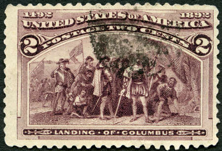 USA - CIRCA 1922: A stamp printed in USA shows Landing of Christopher Columbus (1451-1506), circa 1922
