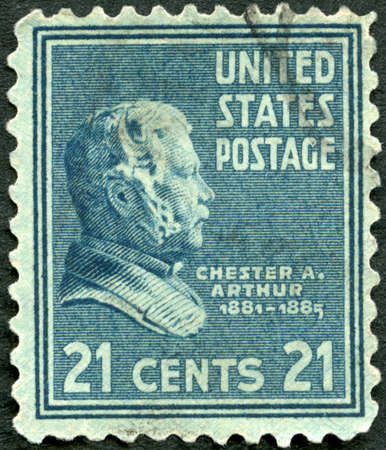 USA - CIRCA 1937: A stamp printed in USA shows portrait Chester Alan Arthur (1829-1886), Presidential Issue, circa 1937