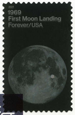 USA - CIRCA 2019: A stamp printed in USA shows First Moon Landing, July 20, 1969, Moon Landing, 50th Anniversary, circa 2019