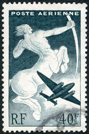 FRANCE - CIRCA 1936: A stamp printed in France shows Centaur and Plane, circa 1936