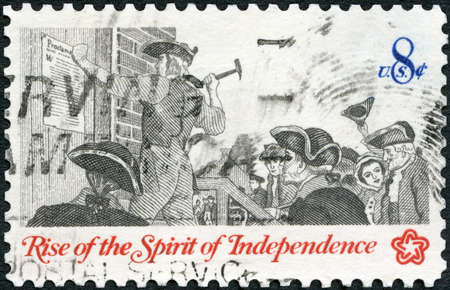 UNITED STATES OF AMERICA - CIRCA 1973: A stamp printed in USA shows Posting a Broadside, Communications in Colonial Times, Rise of the Spirit of Independence, circa 1973