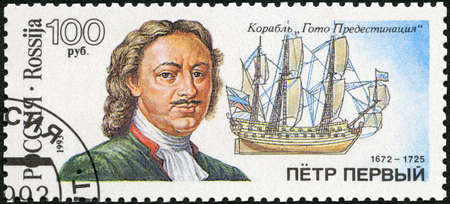 RUSSIA - CIRCA 1993: A stamp printed in Russia shows Peter the Great (1672-1725), sailing vessel Goto Predestination, Russian shipbuilders, The 300th anniversary of the Russian Navy, circa 1993 新闻类图片