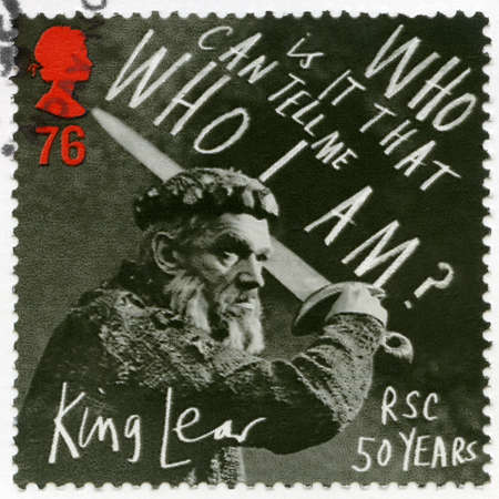UNITED KINGDOM - CIRCA 2011: A stamp printed in United Kingdom shows King Lear, Who is it that can tell me who I am, circa 2011 Sajtókép