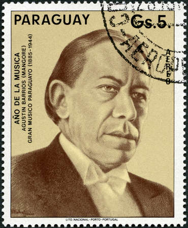 PARAGUAY - CIRCA 1994: A stamp printed in Republic of Paraguay shows Portrait of Agustin Pio Barrios Mangore (1885-1944), Musician, circa 1994
