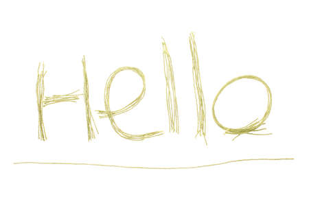"Inscription ""Hello"" made from green thread isolated on white background"