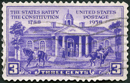 UNITED STATES OF AMERICA - CIRCA 1938: A stamp printed in USA shows Old Court House, Williamsburg, Constitution Ratification Issue, circa 1938