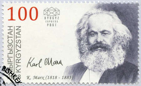 KYRGYZSTAN - CIRCA 2018: A stamp printed in Kyrgyzstan shows Karl Marx (1818-1883), 200th Birth Anniversary, Philosopher and Economist, circa 2018