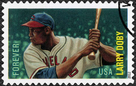 UNITED STATES OF AMERICA - CIRCA 2012: A stamp printed in USA shows Lawrence Eugene Larry Doby (1923-2003), baseball player, Major League Baseball All Stars, circa 2012