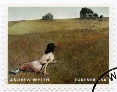 USA - CIRCA 2017: A stamp printed in USA shows Christina World, Andrew Newell Wyeth (1917-2009), Ceremony Memento, circa 2017