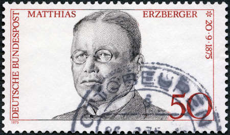 GERMANY - CIRCA 1975: A stamp printed in Germany shows Matthias Erzberger (1875-1921), politician, circa 1975 Editorial