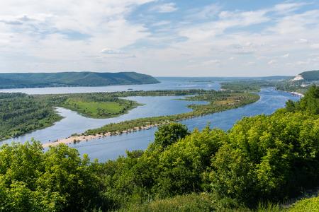 volga river: Volga river, view from the top Stock Photo