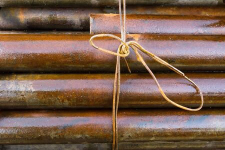 associated: Rusty metal rod associated Stock Photo