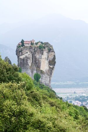 meteora: Meteora Greece monastery overlooking the valley and mountains
