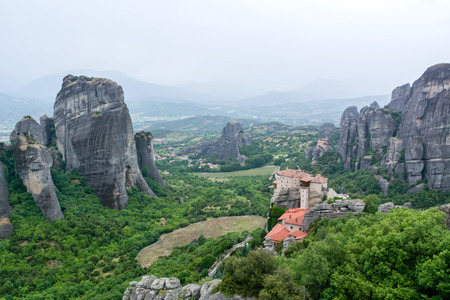 monastery nature: Meteora Greece monastery overlooking the valley and mountains