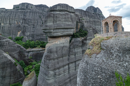 bell tower: Meteora Greece rocks the bell tower of the monastery Stock Photo