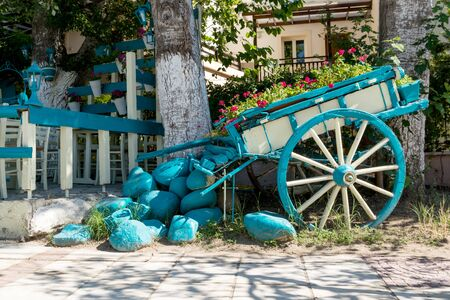 Cart with flowers in the street Banco de Imagens