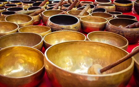 singing bowls: Tibetan singing bowls Stock Photo