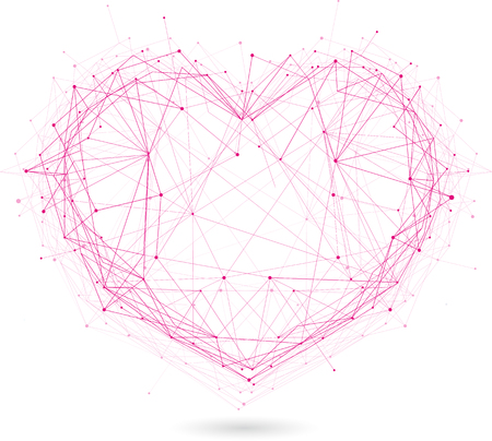 polygonal red heart vector isolated