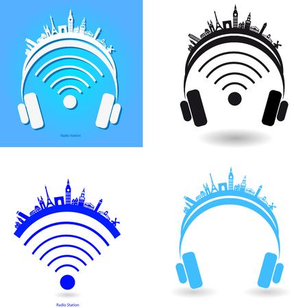 telecast: set of logos of radio stations Illustration