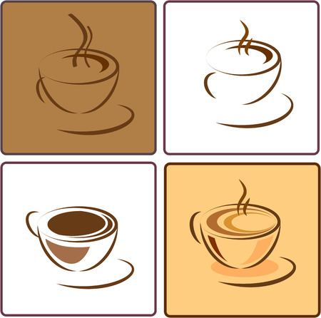 percolator: Coffee cup different vector icons Illustration