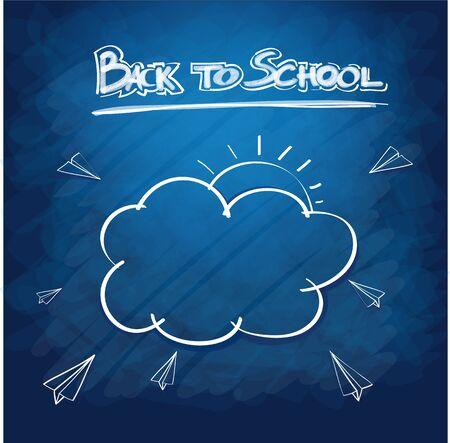semester: School supplies on blackboard background ready for design Illustration