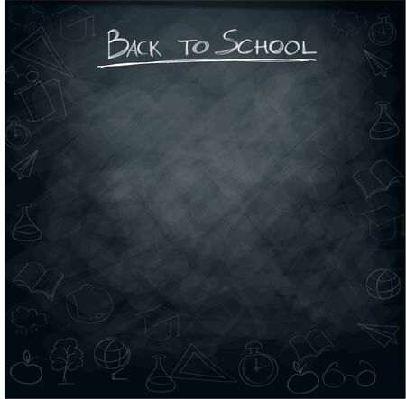 supplies: School supplies on blackboard background ready for design Illustration