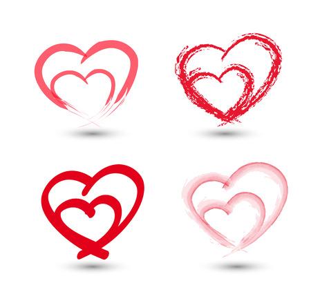 Establecer los corazones del amor en el fondo blanco