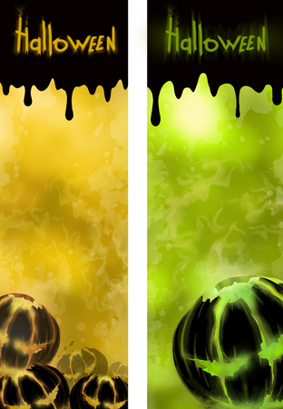 yellow hills: Halloween yellow and green background with pumpkin Stock Photo